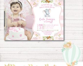 Pink Elephant Birthday Invitation, elephant Birthday, Pink, Gold, Glitter, Photo, First Birthday, 1st Birthday, Printable, Digital,