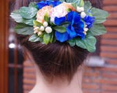 VTG Inspired Blue & Salmon Hairflower Fascinator // Handmade  Headpiece  by Bobby Pin Boutique Bridal Wedding Party