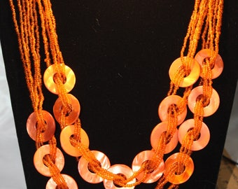 Multi Strand  Orange Beaded Necklace