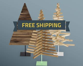 Wooden Christmas Tree / 40in-100cm / Oak, Maple & Walnut wood / Square stand in 3 colors / minimal, modern design / FREE SHIPPING /