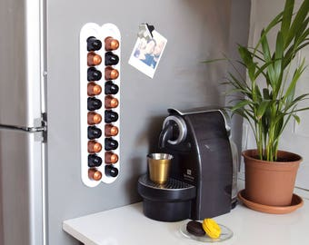 White Nespresso Coffee Capsule Holder Storage, Coffee Pod holder Storage, Coffee Lover Gift, Coffee Machine Accessory, Magnetic Wall Mount