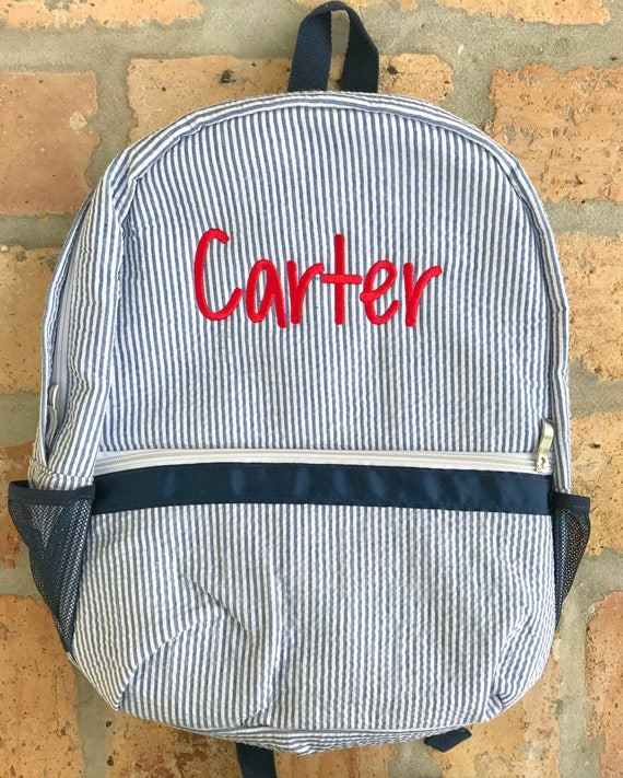 Monogrammed Seersucker Backpack - Multiple Colors Available
