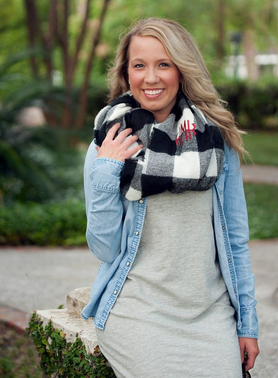 Monogrammed Infinity Scarf - Black & White