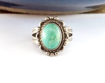 Old Sterling Silver Turquoise Ring Vintage Bead Design Signed Southwest Fred Harvey Era Bell Trading Post size 5