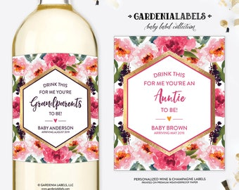 Drink This For Me Pregnancy Announcement, You're An Auntie to Be, Best Parents to Grandparents, Baby Announcement Wine Label, Baby Reveal