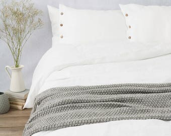 Pure white LINEN DUVET COVER, custom size, queen size bedding, king size bedding and more