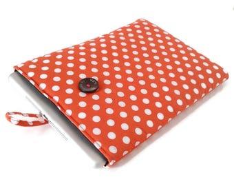 Orange Tablet Sleeve. Ereader Sleeve. Polka Dots. Custom made for  iPad Mini. Kobo aura. Samsung Kindle or any other tablet or Ereader