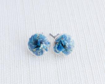 blue flower earrings, dried flower earrings