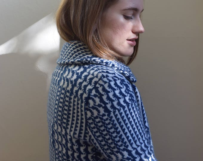 Lyla |  Royal Blue + White Houndstooth Knit Sweater Jacket