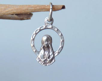 Vintage Sterling Silver Mother of Jesus Pendant, Virgin Mary, Our Lady, Religious European Pendant, Vintage Christian Jewelry from 70's