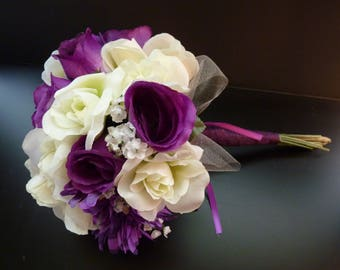 Purple and Ivory bouquet, Fall Bouquet,