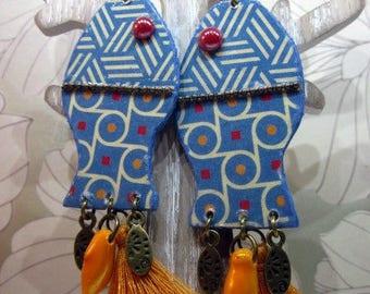 blue yellow fish paper earrings