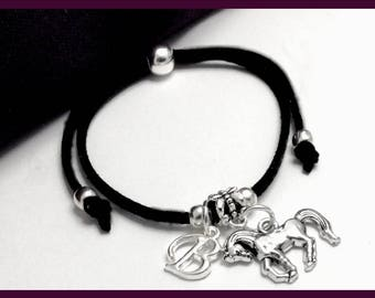 Horse cord bracelet, horse charm bracelet, personalized horse bracelet, boho chic bracelet, horse gifts, horse jewelry, silver horse charm