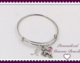 Unicorn Bracelet, Women's and Girls Unicorn Bangle Charm Jewelry, Silver Birthstone Bangle Bracelet, Personalized Unicorn Bracelet Gifts