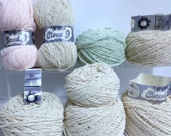 Cloud 9 DK Yarn Bundle Vintage Sirdar Sunseeker Soft Wavey Yarn Made in England Sand Apricot Mint Green Yarn for Knitting Handmade Accessory