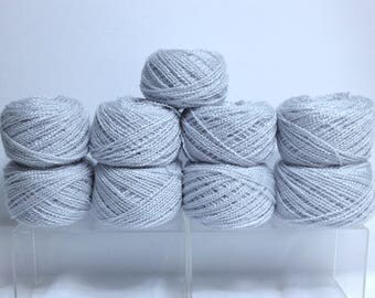 Vintage Silver Yarn Bundle, Vintage Eaton Lady Fair Sparkling White Silver Shimmery Yarn Cakes for Knitting Crocheting or Fiber Art Projects