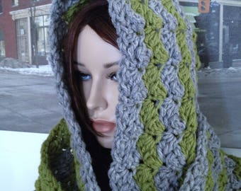 Wool Infinity Scarf, Chunky Hooded Cowl Scarf Hoodie, Snood, Guy Scarf, XXL Scarf Thick Wool Blend Winter Green Gray Scarf READY To SHIP