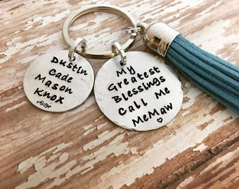My greatest blessings call me, Personalized keychain  with kids names,  Gift for Mom,  Hand stamped name keychain, Grandmother gift