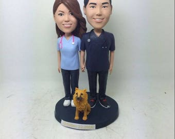 Surgical Nurse Personalized Wedding Cake Topper Bobble Head Clay Figurine Bride Groom