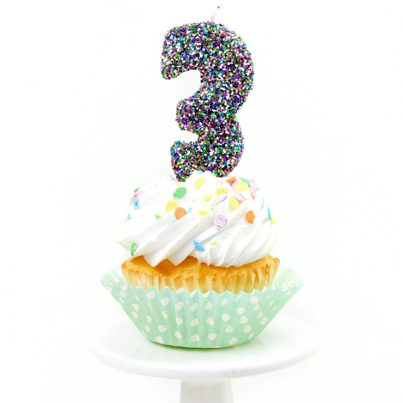 "3"" Number 3 Candle, Giant 3 Candle, Large Mardi Gras Candle Mermaid Birthday Giant Glitter Candle Marti Gra Party Multi-Colored Glitter"