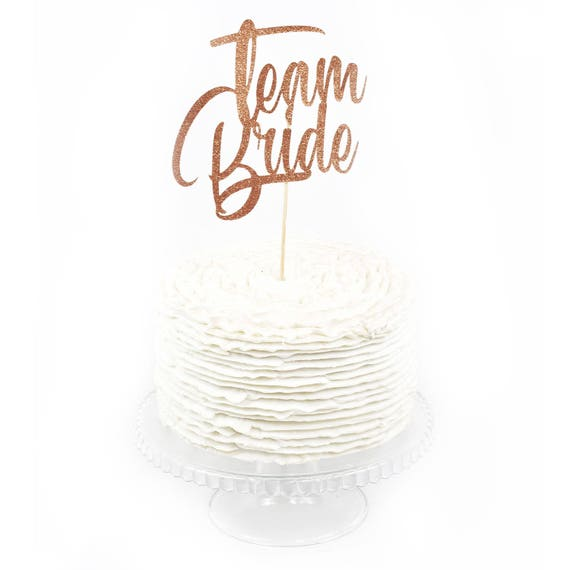 Team Bride Rose Gold Glitter Cake Toppers, Toothpick Cake Topper, Rose Gold Cake Gold Glitter Wedding Cake Topper Bridal Bachelorette Copper