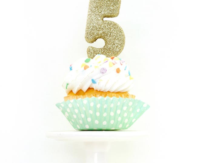 "3"" Number 5 Candle, Giant 5 Candle, Fifth Birthday Party, Gold Birthday Candle, Large Gold Candle, Glitter Party Decor, Gold Glitter Candle"