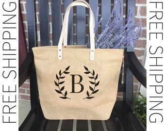Beach Bag | Monogrammed Beach Bag | Burlap Tote Bag | Custom Bag | Womens Accessory | Personalized Tote | Gift For Her |  Large Carryall Bag
