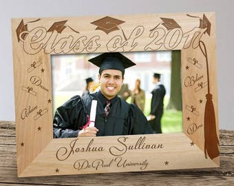 Graduation Engraved Wood Frame, Class of Personalized Photo Frame, Personalized Graduation Picture Frame