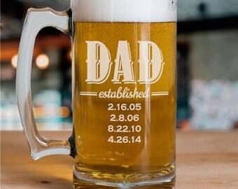 Engraved Dad Established Beer Mug, Dad Established Beer Mug, Dad Beer Mug