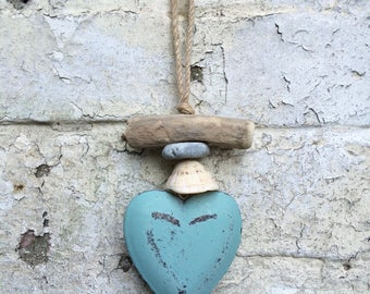 Wooden heart hanging coastal style driftwood mobile decoration