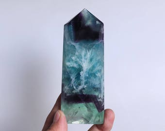 Rare Fluorite Flowers ,Fluorite Flowers Point,Fluorite Flowers Growth Within The White Fluorite,Fluorite Wand Point Healing J932