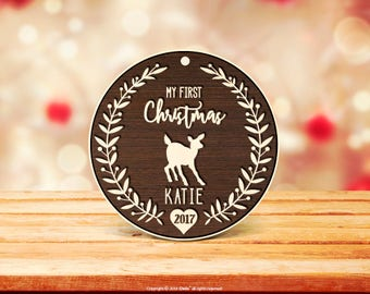 Christmas decorations personalised Baby's First Christmas Ornament Wood Engraved, My First Christmas Ornament, Baby's 1st Christmas 32