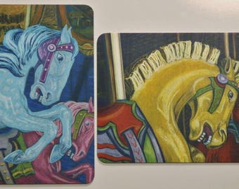 Blue & Rowdy Carousel Horse Art Magnets