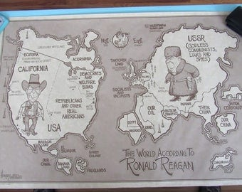 The World According to Ronald Reagan Poster by Dave Horsey 1982 Rare Free Shipping