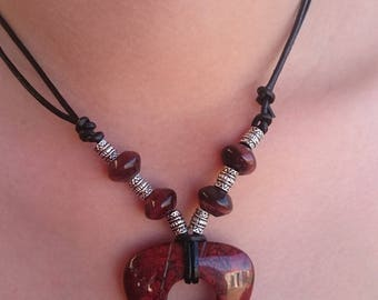 Red jasper and tiger eye, leather necklace.
