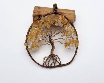 Organic Tree of Life Citrine Pendant, Tree of Life, Pendant, Citrine Pendant, Bronze Wire Wrapped Citrine Pendant, Fall Trees, Autumn Trees