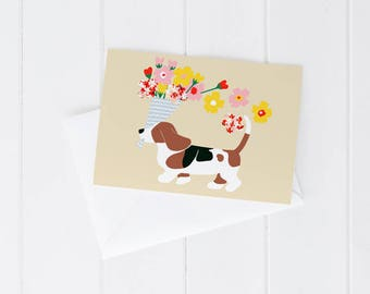 Greeting card, any occasion, birthday, thank-you, congratulations, love, just because, dog, basset hound, flowers