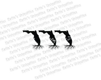 Florida Roots Deep Rooted 3 State Versions SVG DXF or PNG digital file for use with cutting machines Cricut Silhouette