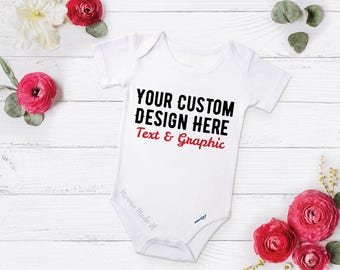 Cute unique personalized clothing by minniemadeit on etsy custom order baby one piece design your own newborn baby boy baby girl name negle Choice Image