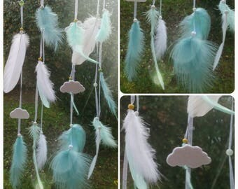 White mobile dream catcher feathers tones and Mint