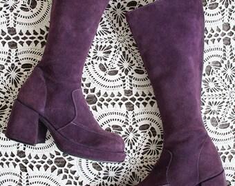 Vintage Rare original purple suede 60s 70s hippy leather platform boots uk size 5 Eur 38 us 7