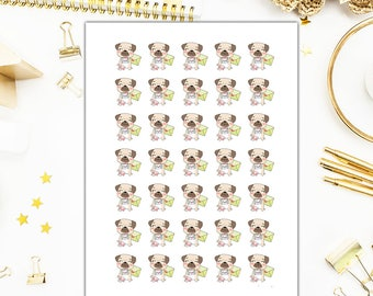 40% OFF SALE Pug Happy Mail Stickers – Pug Happy Mail Planner Stickers – Sized for the Erin Condren - 2706