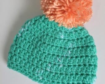 Peach PomPom Beanie, Ready to Ship, Crochet Hat Newborn, Baby Boy Hat, Baby Girl Hat, Newborn Pompom Hat, Crochet Beanie, Gender Neutral