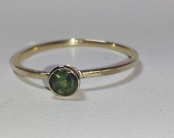 4mm Green Tourmaline Engagement Ring, Dainty 14K Gold Tourmaline Ring, Solitaire Ring, Tourmaline Stacking Ring, October Birthstone