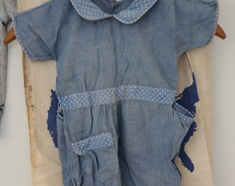 Vintage 1940's Chambray Childs Play Suit coveralls overalls