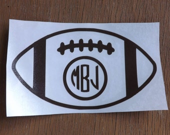 Monogram Football Decal-football decal-football stickers-football car decal-sports decal-car decal-Yeti decal-personalized decal-vinyl decal