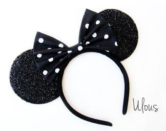 Polka Dot Minnie Ears, Mickey Ears, Halloween Minnie Ears, Minnie Mouse Ears, Black Polka Dot Minnie Ears, Halloween Mickey Ears, Halloween
