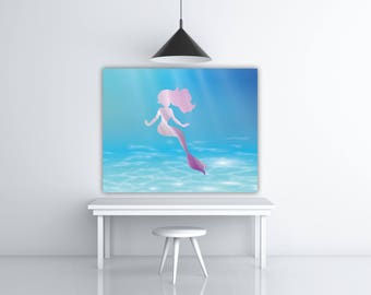 Under The Sea Nursery Decor, Purple Mermaid Nursery Art Girl, Mermaid Kids Illustration Poster, Mermaid Baby, Kids Mermaid Art
