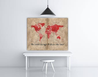 Poster Vintage Book Page Print, Vintage World Map Wall Art, Book Lover Gift, World Map Decor, Reading Quote World Print, Red Wall Art