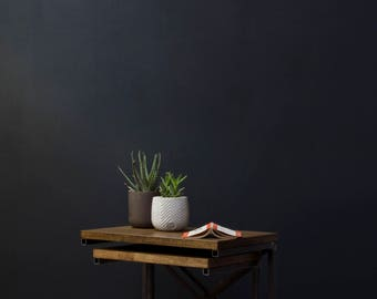 KONK! Industrial Nesting Side Tables - Storage Unit - Oak/Steel - side table, Shelf, Rustic, Modern